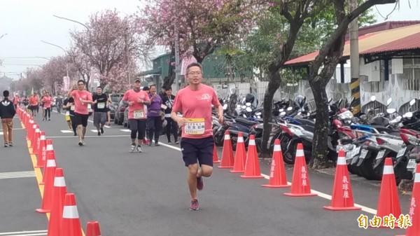跑友在一片粉紅的櫻花大道路跑心情大好。(記者廖淑玲攝)