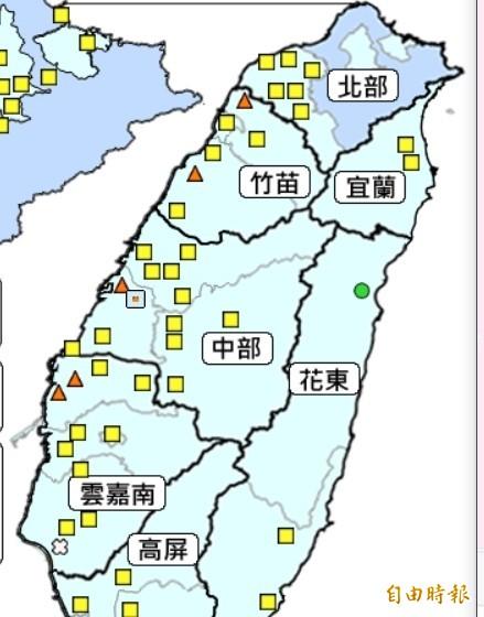 環保署空氣品質監測網顯示,彰化縣4個空品監測站出現對敏感族群不健康的橘色警示等級。(圖擷取自環保署網站)