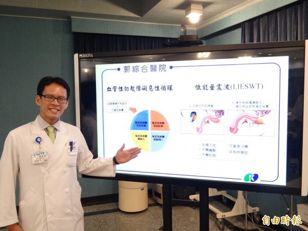 郭綜合醫院泌尿科主治醫師陳秉鴻表示,對於血管性引起的男性勃起障礙,可用低能量震波來治療。(記者王俊忠攝)