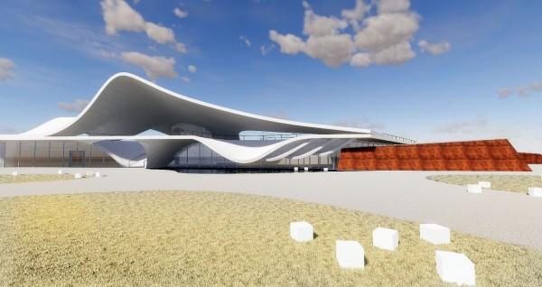 永安漁港海螺文化體驗園區建築模擬圖,被認為與東倫敦大學學生作品相似。(桃園市政府提供)