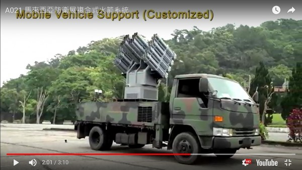 複合式火箭系統可採車載式機動部署。(圖:取自中科院參展影片)。