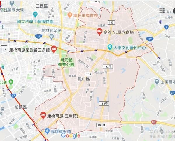 高雄港警總隊在鳳山緝毒開槍。(取自Google地圖)