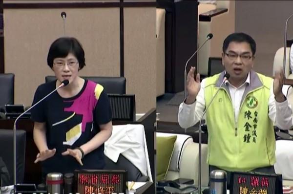 议员陈金钟(右)说,很多家长怀念过去的联考,希望能改回来。教育局长陈修平(左)说,从联考改为多元入学就是不要一试定终身。(记者蔡文居翻摄)
