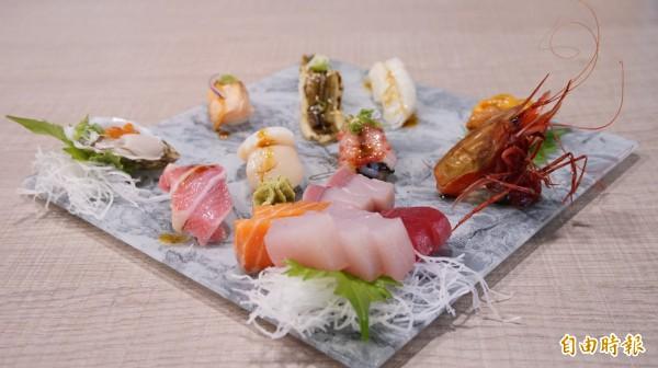 漁郎生魚片壽司擺盤具巧思,連盤子都特別選購。(記者陳彥廷攝)