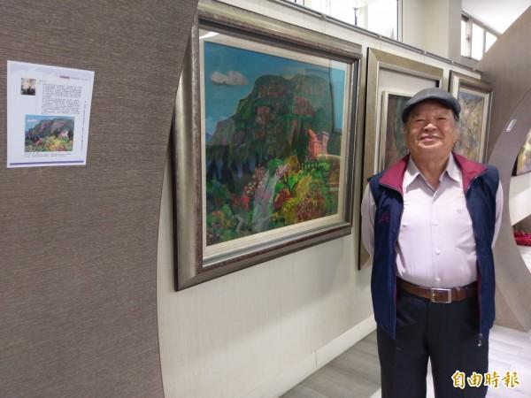 華商退休教師陳政宏「塔山之春」是藝文聯展展出亮點之一。(記者王善嬿攝)