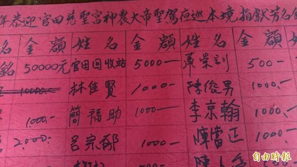 慈聖宮即將遶境,敬鵬大火發生前,呂宗郁就贊助捐獻。(記者楊金城攝)