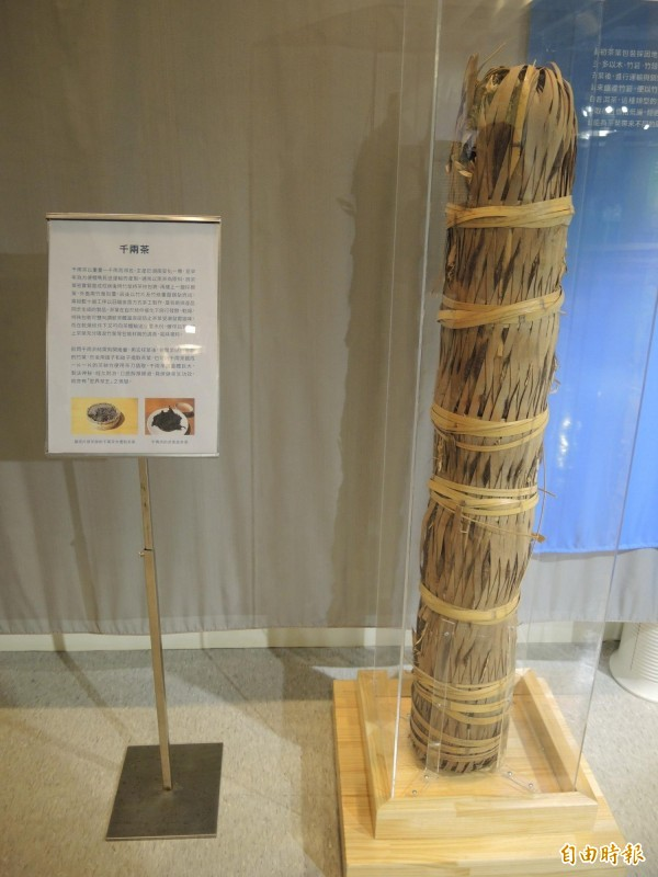 坪林茶業博物館珍藏茶王「千兩茶」,每支價值1百萬元。(記者翁聿煌攝)