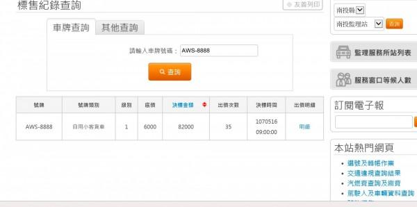 監理服務網顯示AWS-8888決標金額8萬2000元。(圖擷自監理服務網站)