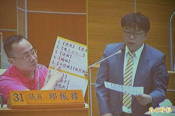 無黨籍新竹縣議員邱振瑋(左)今天出10道考題,秒問秒答縣府官員,被戲稱是「文字獄」質詢,在場者莫不忍俊不住,平添議場內幾分輕鬆。(記者黃美珠攝)