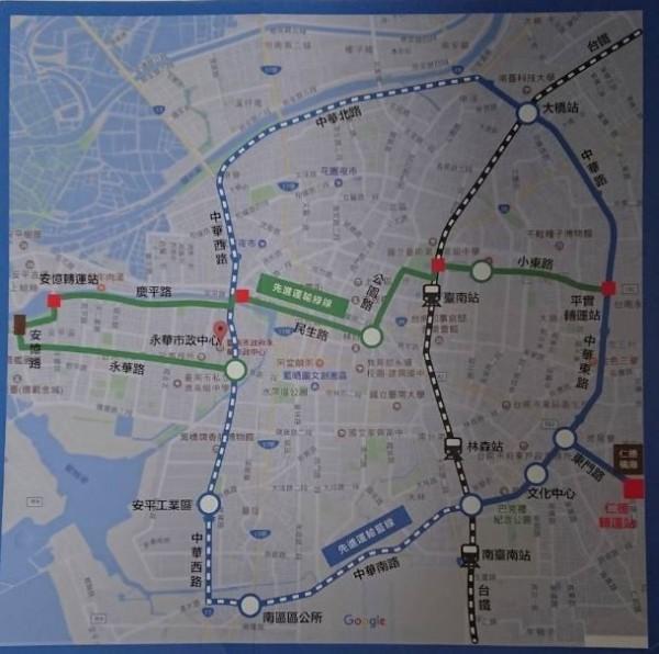 台南捷運優先規劃路網。(記者洪瑞琴翻攝)