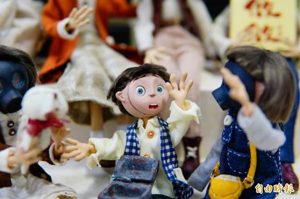 偶動畫《RABY》中每個人物都是手作的戲偶。(記者何宗翰攝)