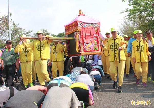 白沙屯媽祖進香回鑾行經彰化,信眾跪伏等鑽轎腳祈福。(記者陳冠備攝)