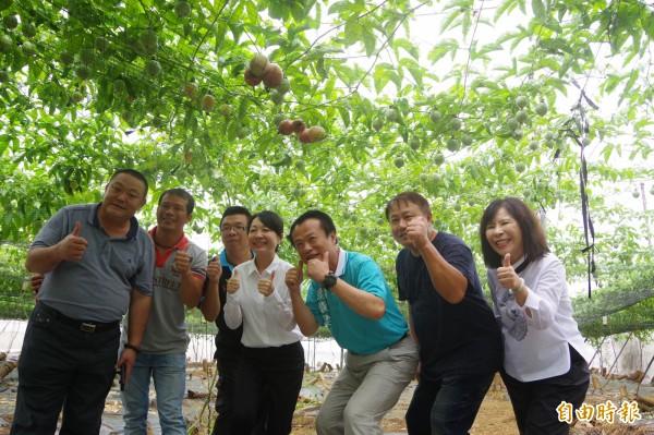 中埔鄉農會推出百香果水果禮盒,並邀中埔鄉長李碧菁(左4)、民進黨提名嘉義縣長參選人翁章梁(右3)到劉銘昇(右2)的果園觀摩。(記者曾迺強攝)