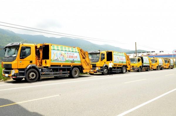 瑪莉亞颱風襲台,宜蘭縣今晚有4鄉鎮停收垃圾,圖為三星鄉垃圾車。(記者江志雄翻攝)