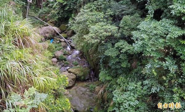 南投縣鹿谷鄉麒麟潭引水河道水量未因雨變多,反而呈現枯水期般缺水異狀,引發外界關注。(記者謝介裕攝)
