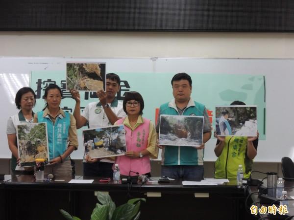 高市議員李喬如(右三)、簡煥宗(右二)要求壽山挖寶計畫立刻停止(記者王榮祥攝)