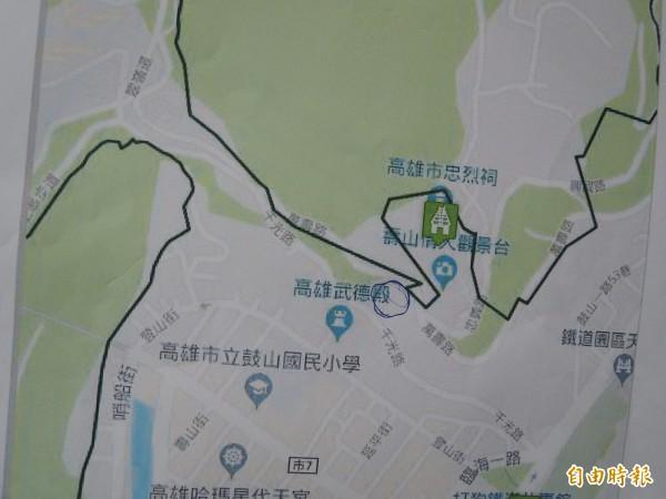 壽山挖寶計畫位置(記者王榮祥攝)