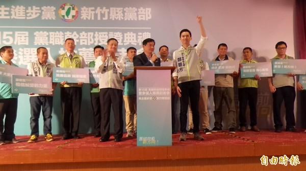 民進黨中央黨部秘書長洪耀福表示,用夢想、用決心改變,新竹縣會是下一個桃園市、新竹市,鄭朝方是下一個鄭文燦、林智堅。用新思維新方向翻轉新竹縣。(記者廖雪茹攝)