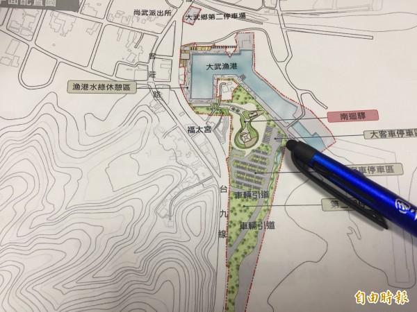 台東縣政府計劃在大武漁港南側蓋大型休憩區。(記者張存薇攝)