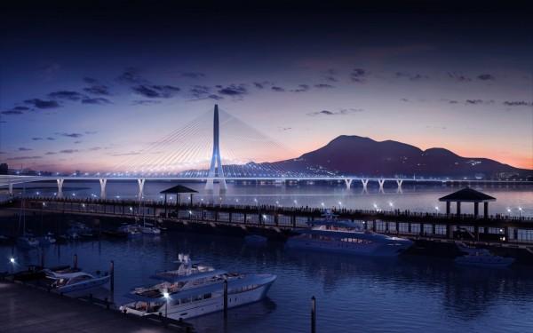 淡江大橋主橋段為獲得普立茲克建築獎的已故女建築師札哈.哈蒂設計,完工後,將是全世界跨徑最長的不對稱單塔斜張橋,只使用一座混凝土結構塔柱支撐長達920米的車道。圖為完工模擬圖。(公路總局提供)
