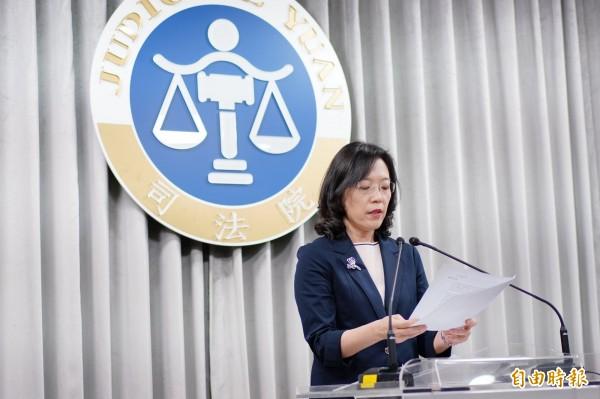 司法院書記處長王碧芳表示,相關聲請案未窮盡救濟程序,大法官會議決議不受理。(記者黃欣柏攝)