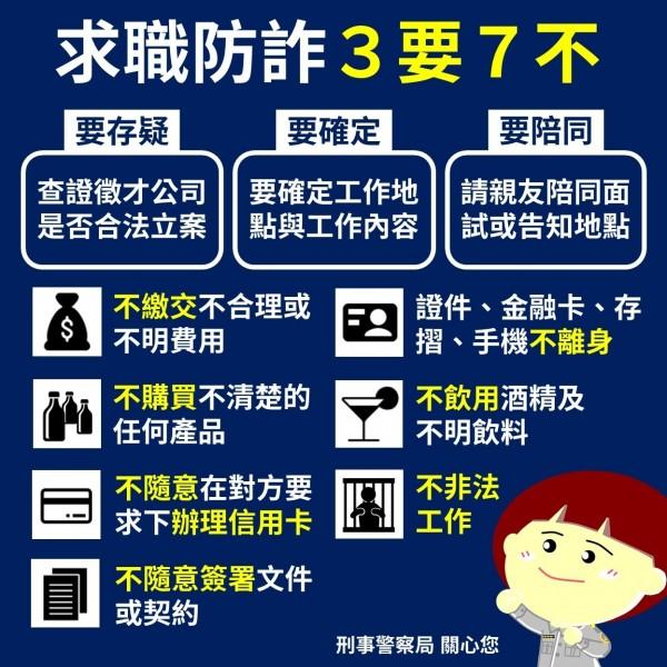 警方提醒求職防詐3要7不。(記者姚岳宏翻攝)