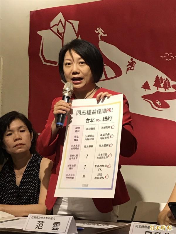 范雲表示,台北市有高達6成的市民支持同志人權跟婚姻平權,但這次市長選戰中完全任何沒有一位參選人提出與同志、友善多元性別相關的政見。(記者蘇芳禾攝)