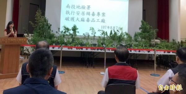南投地檢署主任檢察官吳怡盈(面對鏡頭者),就破獲大麻案說明。(記者謝介裕攝)