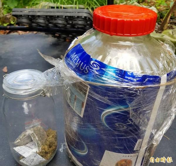 南投地檢署指揮警方起出大麻種子情形。(記者謝介裕攝)