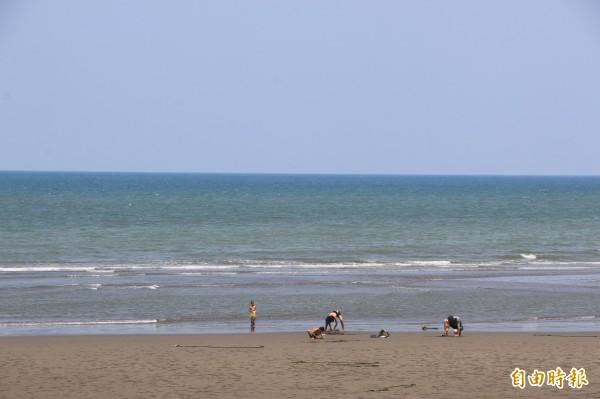 竹南假日之森位於海灣內,擁有西部少見的湛藍海水,且浪潮高低差不會過大,是絕佳衝浪地點。(記者鄭名翔攝)