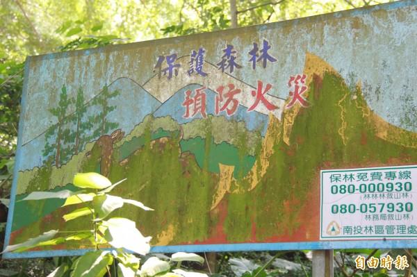 彰化八卦山田中森林步道入口處招牌,描繪有鹿出沒森林。(記者陳冠備攝)