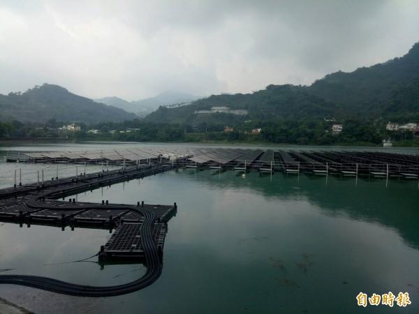 台電於大甲溪設置第一座水上光電站,透過水面浮台結合太陽光電模組發電。(記者張軒哲攝)
