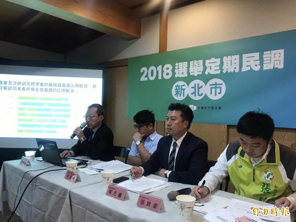 台灣世代智庫今日公布「2018選舉定期民調:新北市」民意調查結果。(記者蘇芳禾攝)