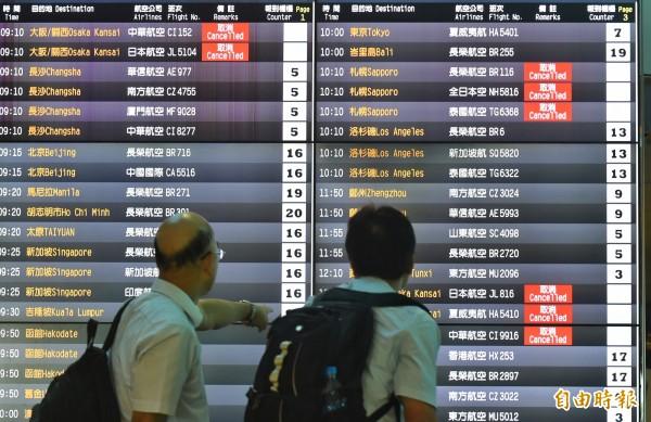 飛往北海道、關西航班多數取消,提醒前往北海道的旅客注意航班訊息。(記者劉信德攝)