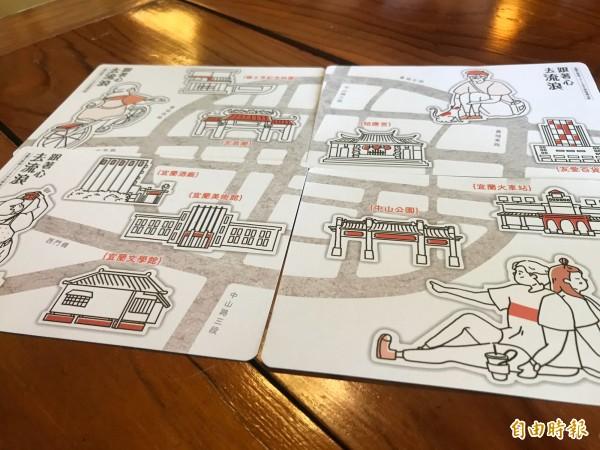 文化局指出,秋季講座在文宣品也有小巧思,文化局共設計4款集合起來,可以拼湊成宜蘭舊城地圖的明信片,民眾可到宜蘭獨立書店及咖啡店蒐集。(記者林敬倫攝)