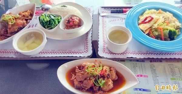 南投縣名間鄉松柏嶺「茶米香」民宿的茶油雞套餐(左)及茶油雞麵線(右),深受遊客喜愛。(記者謝介裕攝)