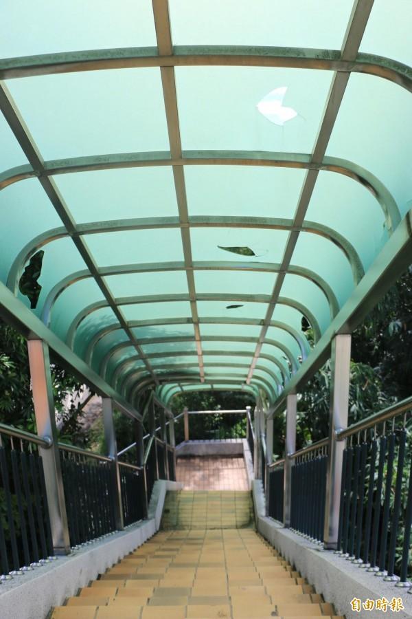 興華中學外的通學天橋遮雨棚多處破損。(記者鄭名翔攝)