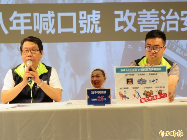 蘇貞昌競選辦公室發言人沈發惠(左)和黃韋鈞,指朱立倫、侯友宜8年來說要改善治安,成績卻是不及格。(記者何玉華攝)