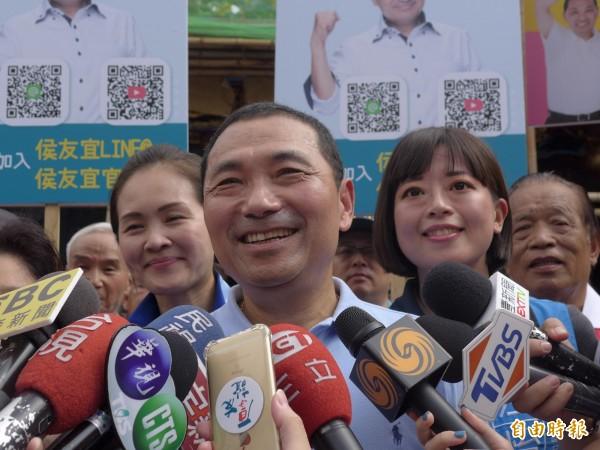國民黨新北市長參選人侯友宜反對深澳燃煤電廠重啟。(記者李雅雯攝)