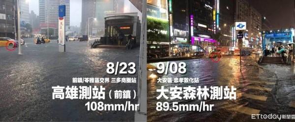 「「高雄好過日」」凸顯北高治水經費差十倍,當時雨量破百毫米,同樣造成積淹水。(左圖擷取自爆料公社,右圖擷取自蔡牧民臉書)