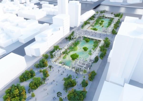 原中國城(廣四廣場)景觀工程願景模擬圖。(台南市政府提供)