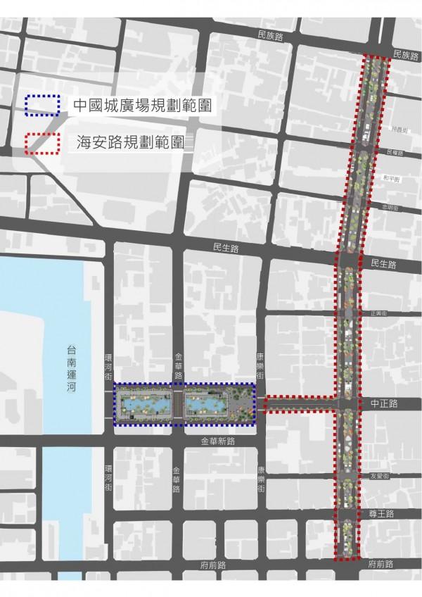中國城廣場(藍線框)與海安路景觀規劃(紅線框)範圍圖。(台南市政府提供)