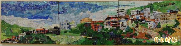 胡達夫的作品《九份山城》。(記者林良哲攝)