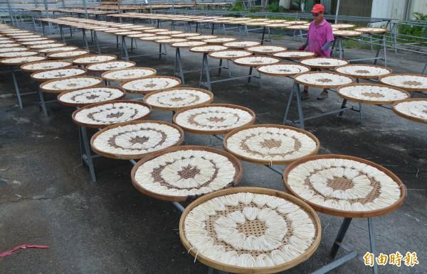 關廟麵的曬製過程,不能碰到水,在下雨之前就必須先收好。(記者吳俊鋒攝)