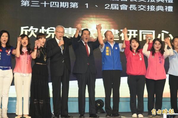 吳敦義、馬英九、韓國瑜首次在高雄合體同台。(記者張忠義攝)