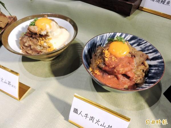 牛肉火山丼飯的牛肉鋪得像座小山。(記者張菁雅攝)