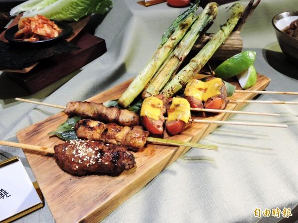 一膳秀泰文心店也推出串燒料理。(記者張菁雅攝)
