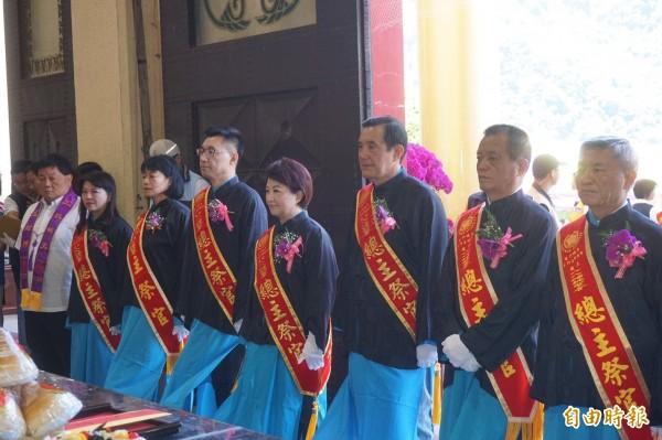 前總統馬英九等參加谷關大道院「八八蟠桃聖會」三獻大典。(記者歐素美攝)
