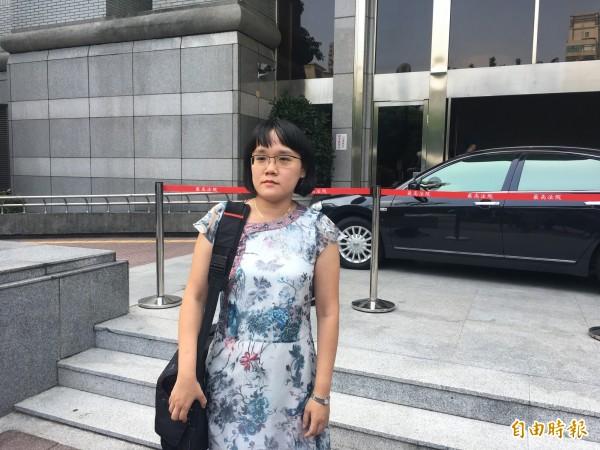 湯景華縱火案的被害人家屬湯男的委任律師謝智潔。(資料照,記者張文川攝)