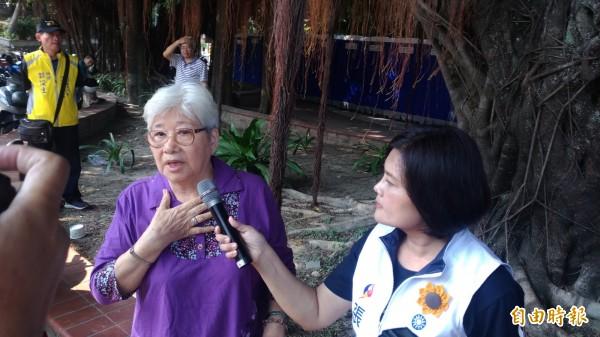 年逾80歲的張姓阿嬤抗議興建地下滯洪池。(記者廖淑玲攝)